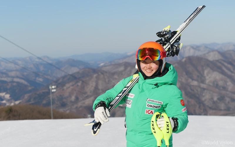 아무리 추워도 스키 탈 때가 제일 행복하다는 영미.