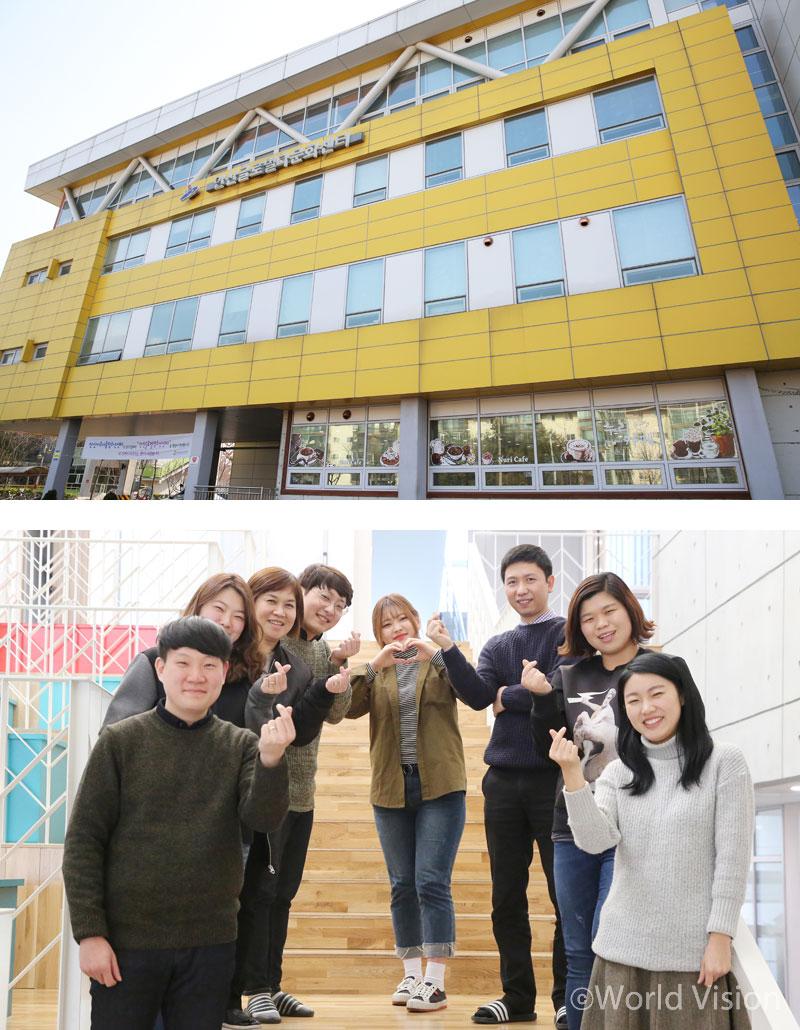 위:안산시 단원구에 위치한 안산글로벌청소년센터 전경 아래:센터에 근무하고 있는 사회복지사