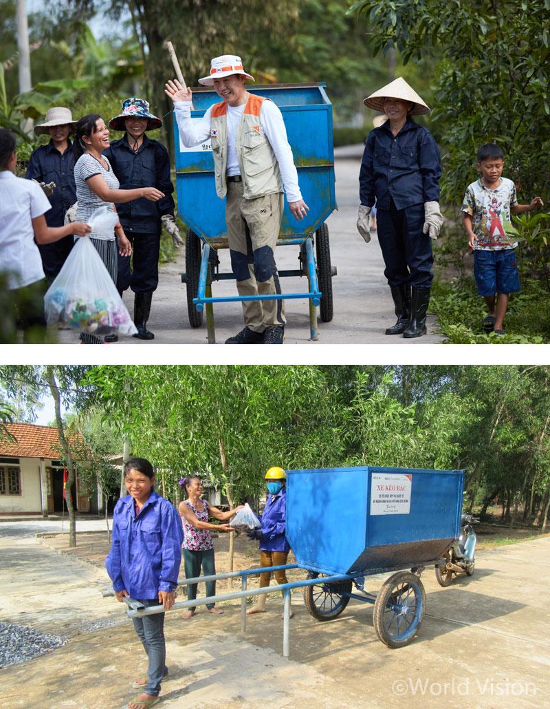 일일 쓰레기 수거팀 리더, 박상원 씨. 월드비전은 쓰레기 수레 36개를 지원하고, 쓰레기 수거지 11개를 만들었어요!
