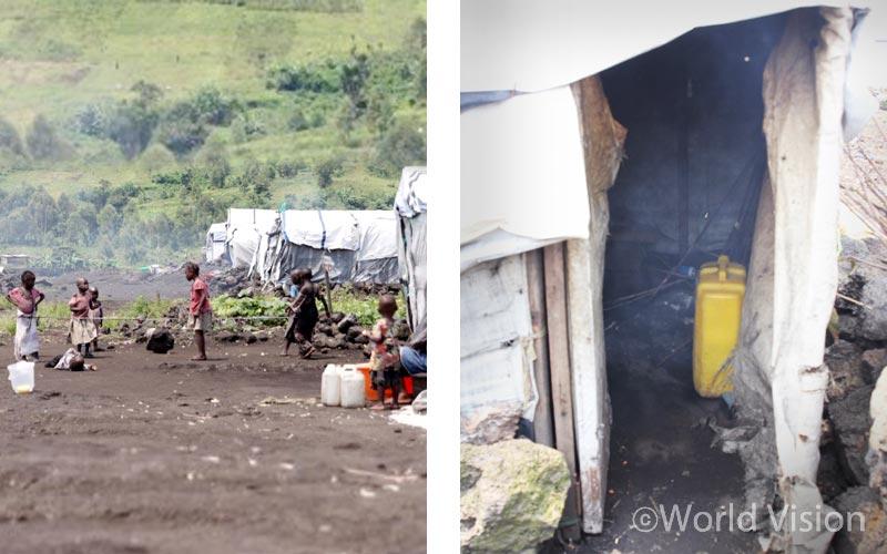 작년 방문 했던 콩고민주공화국 난민촌 사진을 다시 보니, 정말 연기가 자욱하다.