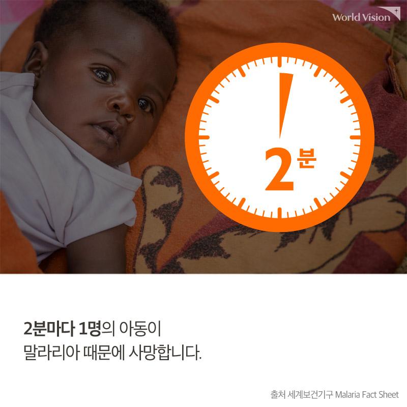 2분마다 1명의 아동이 말라리아 때문에 사망합니다.출처 세계보건기구 Malaria Fact Sheet