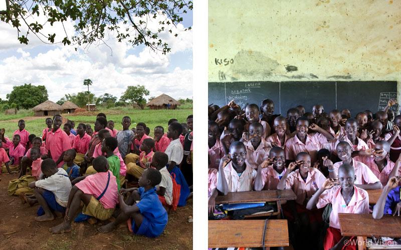 (좌) Befor 교실 밖에서 수업을 듣던 아이들 (우) After 이제는 비가 와도 끄떡없어요!