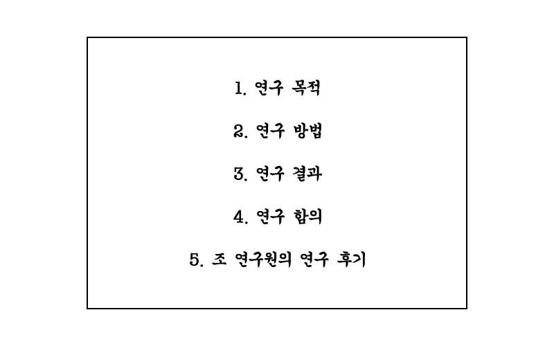 1. 연구 목적 2. 연구 방법 3. 연구 결과 4. 연구 함의 5. 조 연구원의 연구 후기