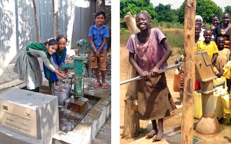 제주렌트카와 월드비전을 통해 설치된 식수시설의 모습 (좌) 방글라데시 보그라 지역 (우) 우간다 부둠바 지역