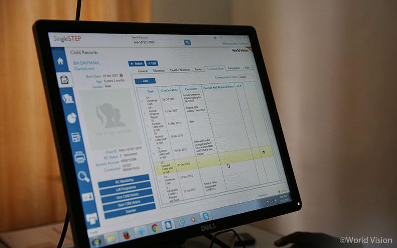 아동 모니터링을 통해 정리된 아동정보가 주기적으로 업데이트되는 월드비전 아동정보 관리시스템의 화면.