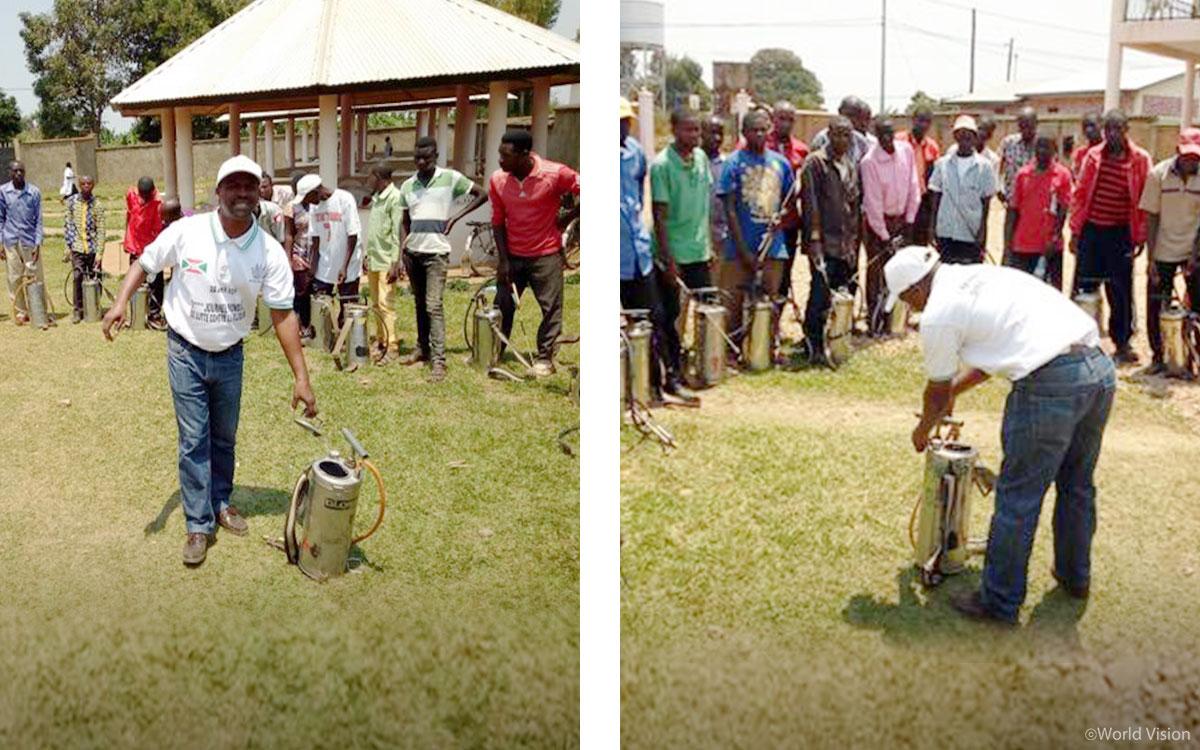 마을마다 살충제 분사 자원봉사자를 모집한 후, 안전하고 효과적인 살충제 사용방법을 교육했어요