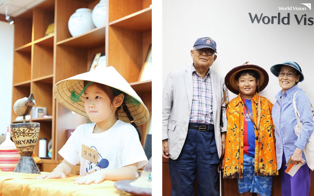 월드비전 국제사업을 펼치는 나라의 전통의상과 공예품을 직접 체험해 보는 코너도 마련되었습니다.