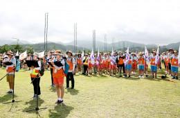 2018년 7월 30일 월드비전 꿈꾸는아이들 국토대장정 선서자 대표 김기호, 황정민, 김혜진(왼쪽부터)