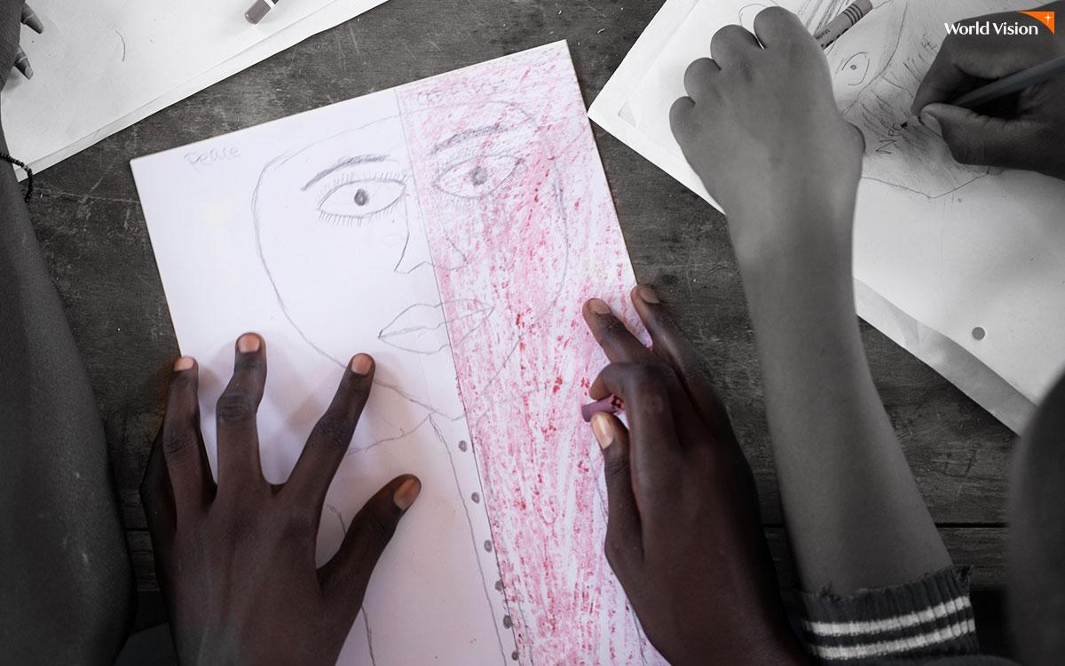 왼쪽엔 평화, 오른쪽엔 분쟁을 표현한 아이의 초상화. 얼굴의 반이 붉게 색칠돼 있다.