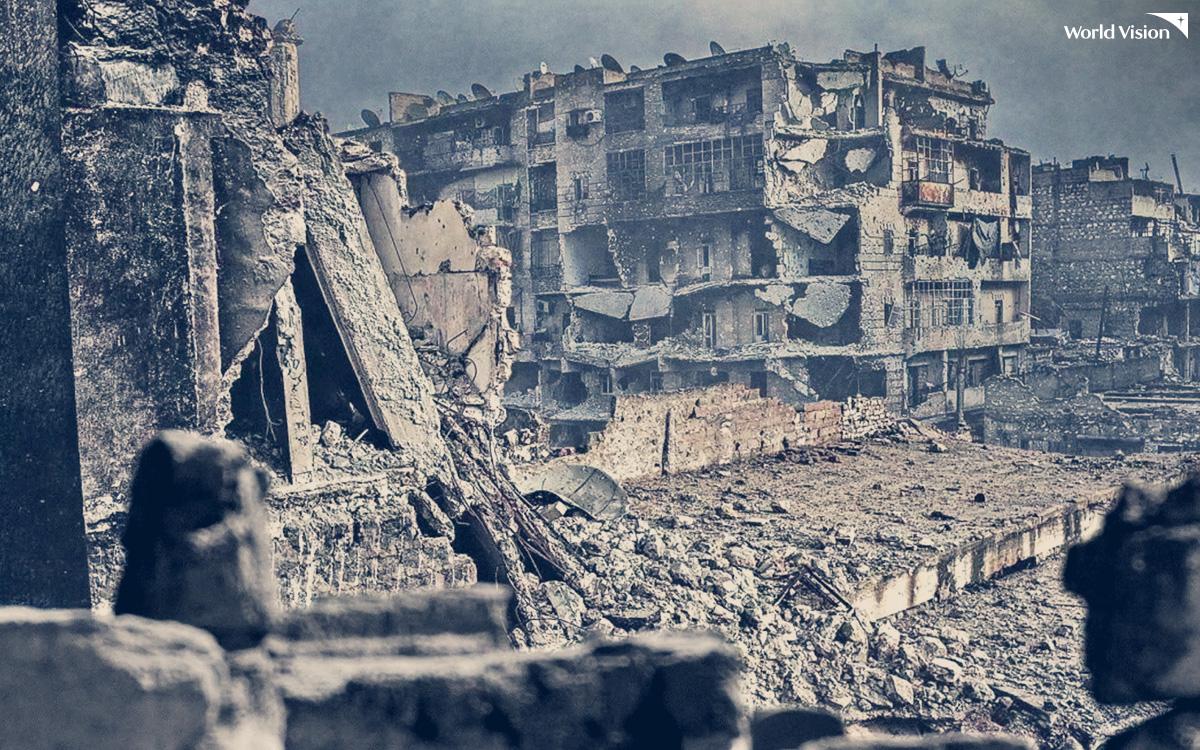 시리아 내전으로 폐허가 된 시리아