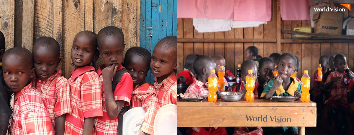 배식을 기다리는 아이들 그리고 맛있는 점심 식사