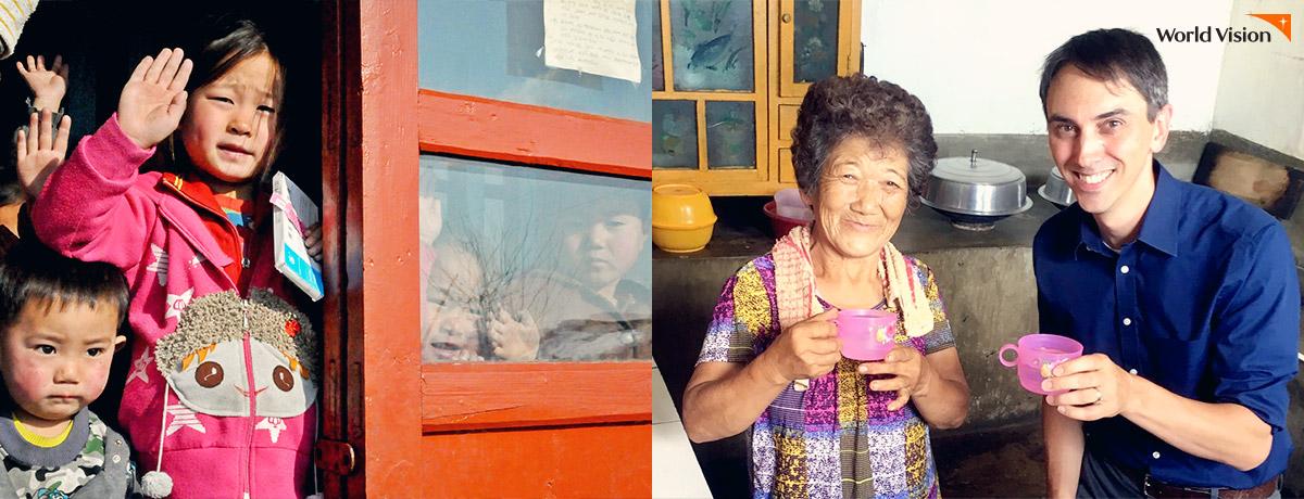 안주 유치원 아이들의 모습(왼쪽)/ 북한 주민의 가정을 방문한 랜달 팀장의 모습(오른쪽)
