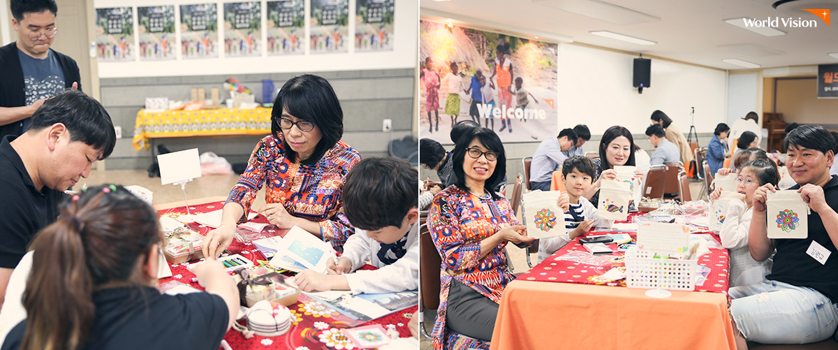 발표가 끝난 후, 베트남월드비전 회장은 자리를 뜨지 않고 후원자들과 함께 후원아동에게 보내는 선물 만들기 활동도 함께 했어요.
