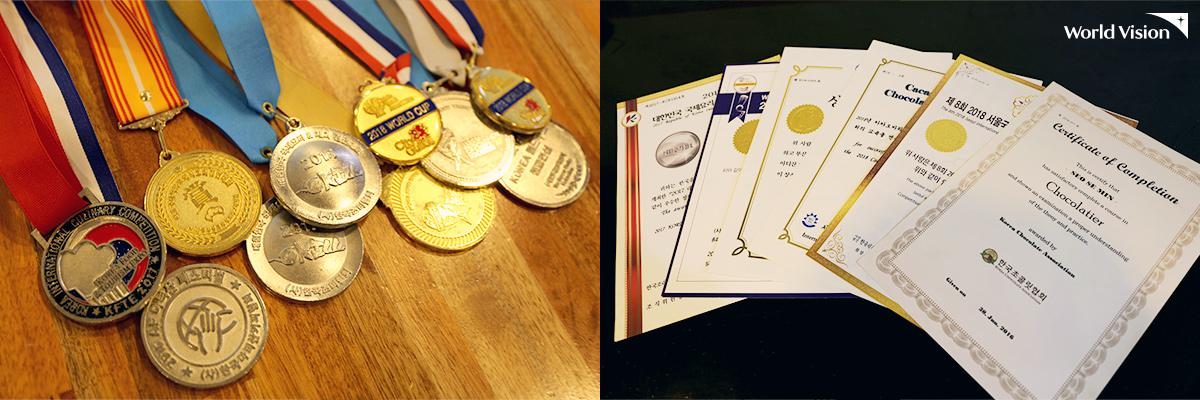 세민이가 수상한 각종 메달, 상장과 취득한 자격증들