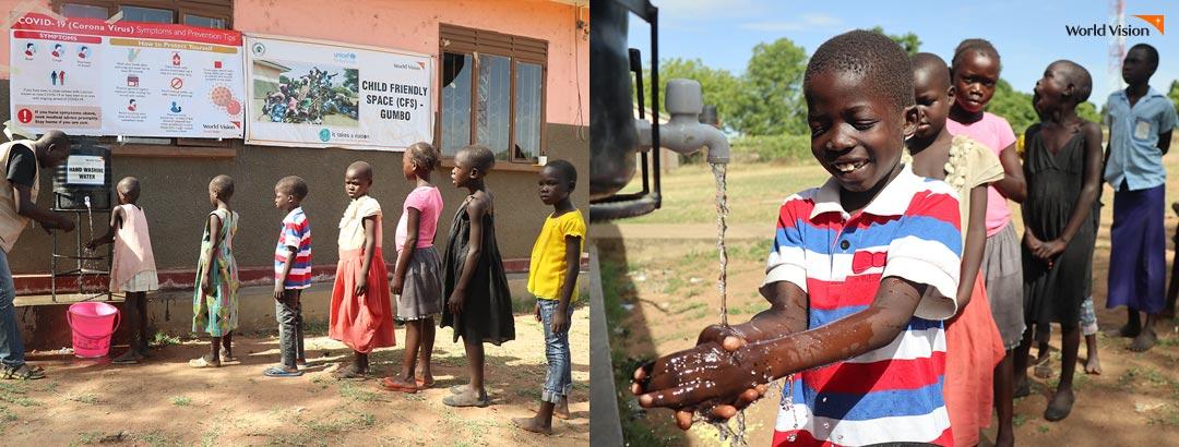 개인 위생 관리로 코로나-19 감염을 예방하기 위해 손 씻기 교육을 받고 있는 남수단 어린이들