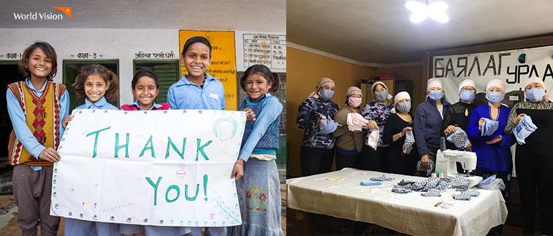 감사 메세지를 전하는 후원국 주민들