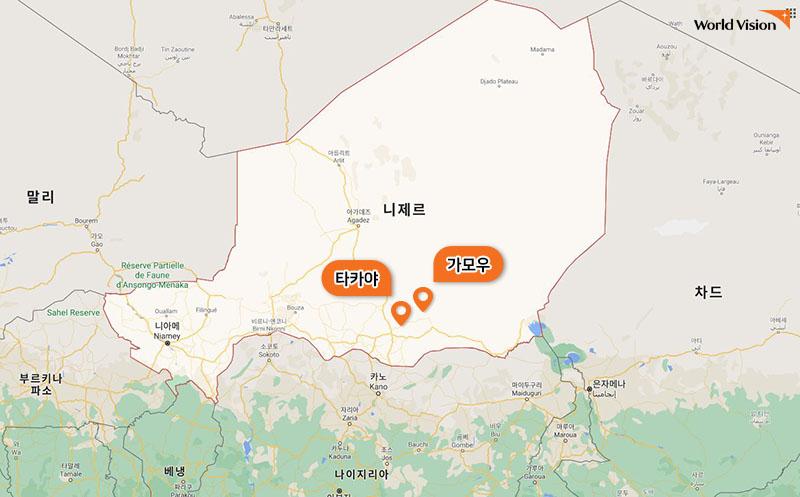 니제르의 '타카야' 마을과 '가모우'마을 지도 사진
