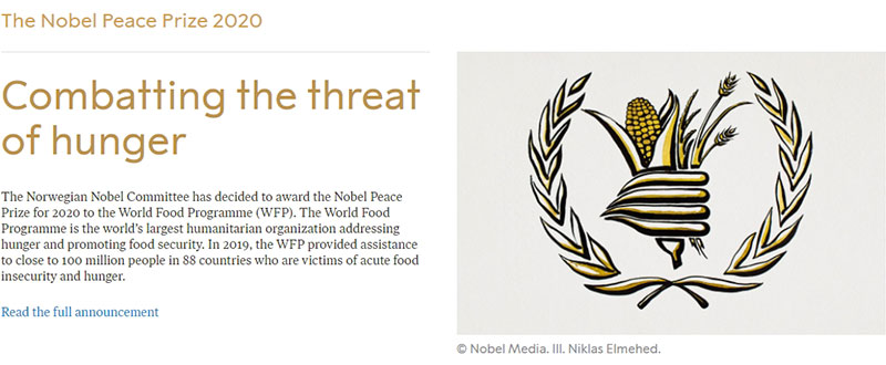 The Nobel Peace Prize 2020, Combatting the threat of hunger : 노벨위원회 홈페이지의 캡쳐화면