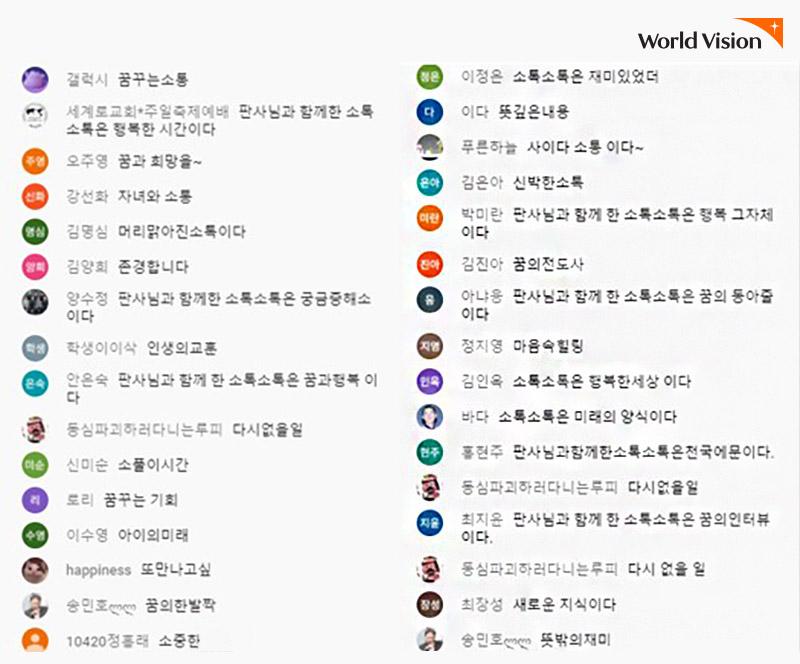 사이트에 다섯 글자로 소감을 나눈 시청자들의 후기 목록