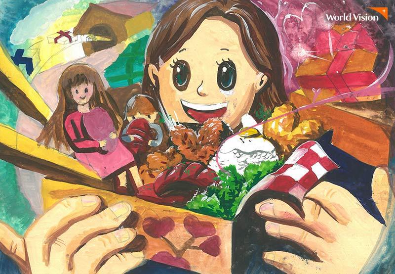 맛있는 음식이 한가득 들어있는 선물상자를 들고있는 여자아이 그림