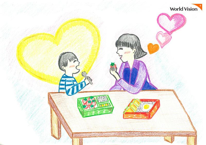 함께 도시락을 먹고 있는 아동과 선생님 그림