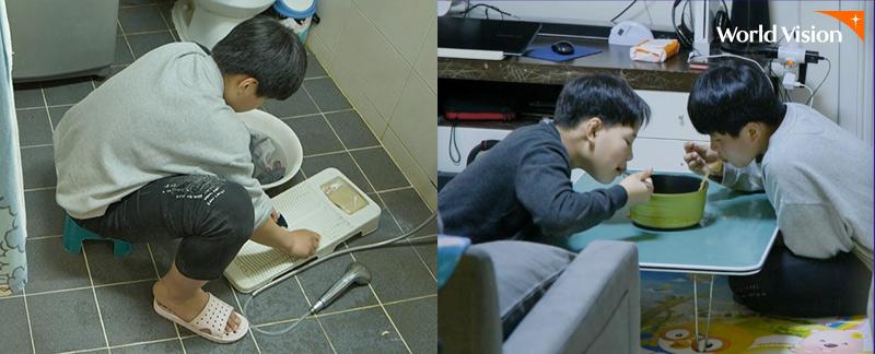 좌:화장실에서 빨래를 하고 있는 태형이 / 우:라면 한 개로 끼니를 떼우고 있는 태형이화 동생