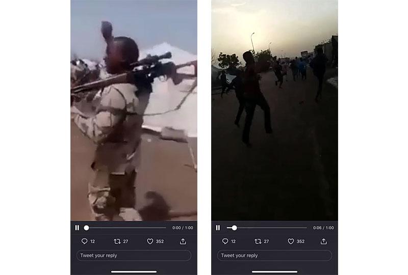 무장하고 우간다 국경으로 향하고 있는 콩고민주공화국 시민들을 촬영한 화면