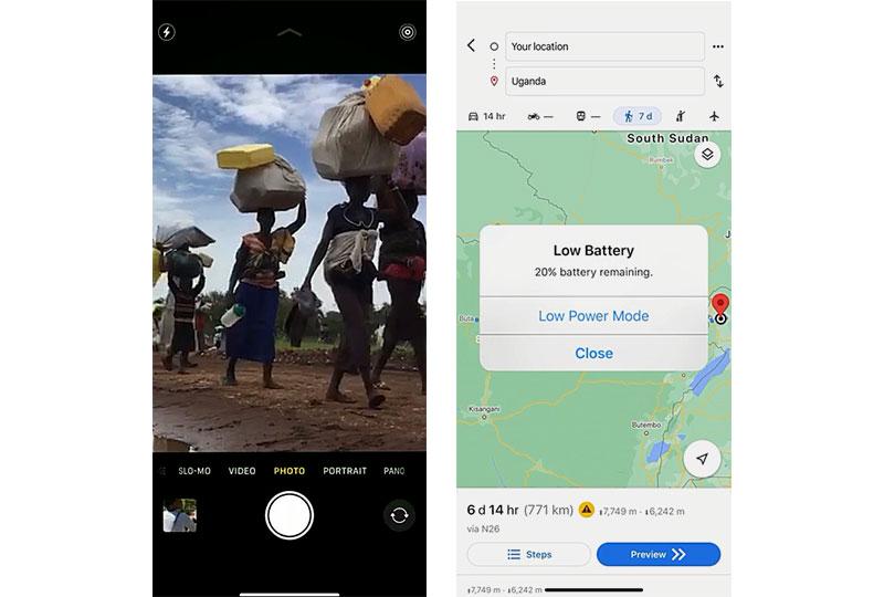 피난을 떠나는 무리를 촬영한 화면 / Low Battery 20%를 표시하고 있는 화면