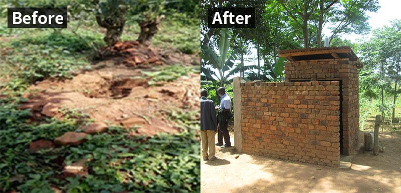 Before: 땅에 구덩이만 파져있는 화장실 모습 / After: 벽돌로 지은 튼튼한 화장실