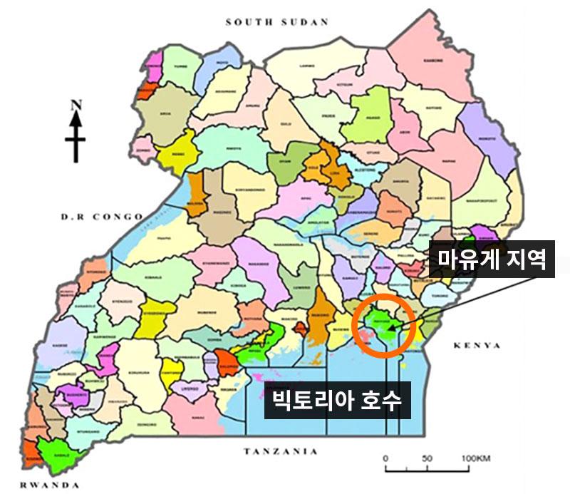 마유게 지역과 빅토리아 호수가 표시된 우간다 지도